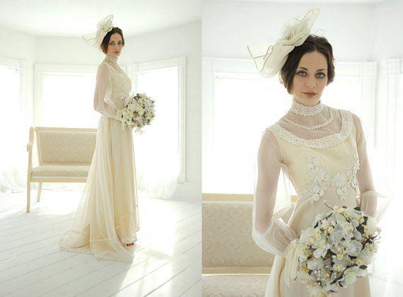 RESERVED Vintage Victorian-style Wedding Dress, Ivory