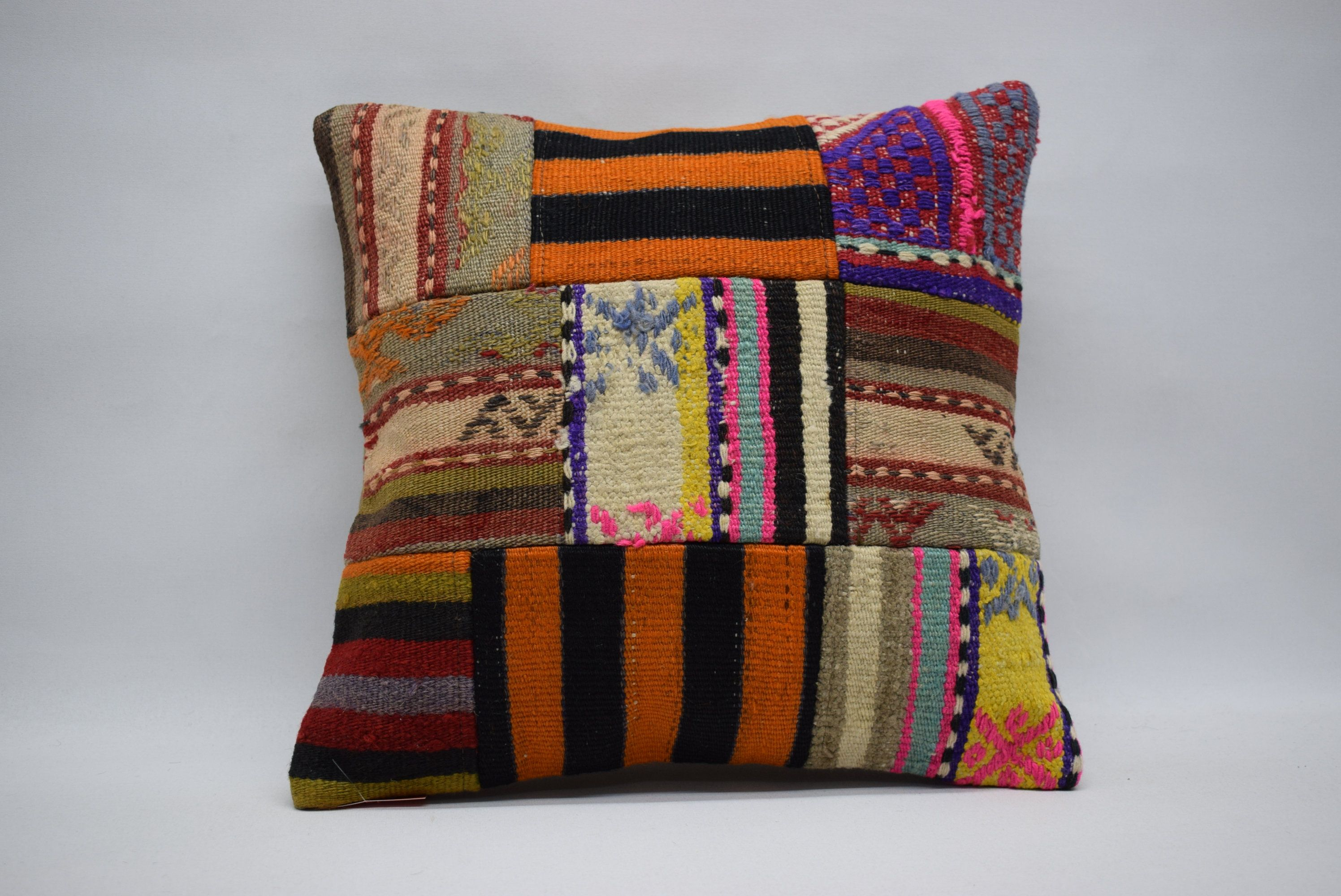 Patchwork kilim pillow handwoven kilim pillow boho pillow 16x16 naturel kilim pillow home decor cushion cover ethnic pillow 03473