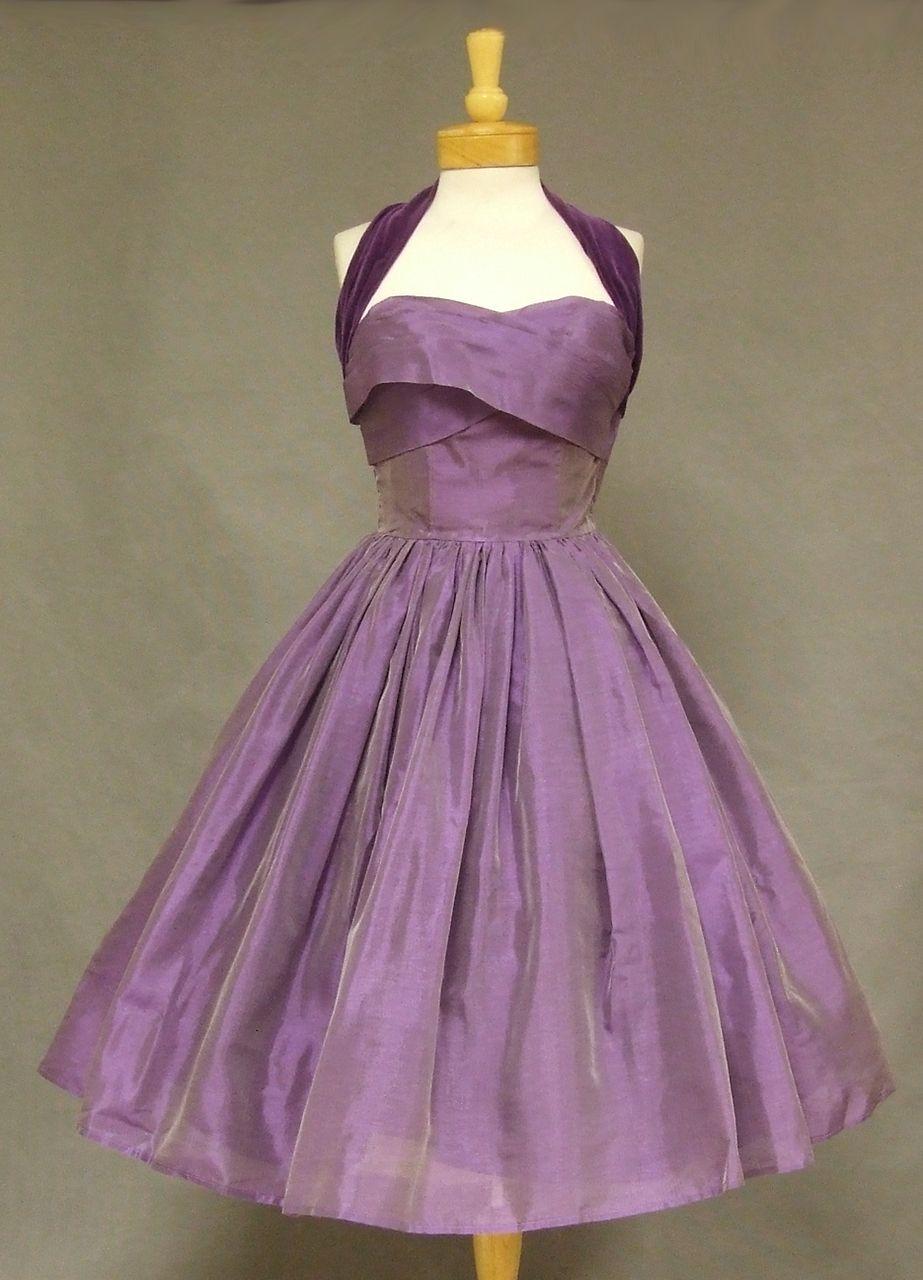 Violet organdy and velveteen cocktail dress, 1950s | PurpleRoyalty ...