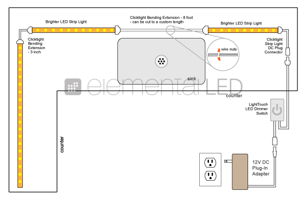 a8e1a0f89f057a8b9cf600fe6e9c2759 kitchen led under cabinet lighting kit wiring diagram kitchen 120V LED Wiring Diagram at creativeand.co