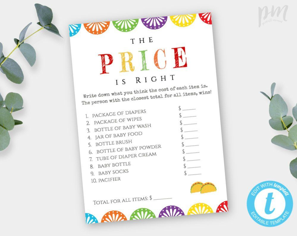 Fiesta Baby Shower The Price Is Right Game Template Editable Etsy Price Is Right Games Fiesta Baby Shower Taco Baby Shower