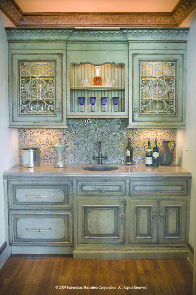 weathered blue cabinets.