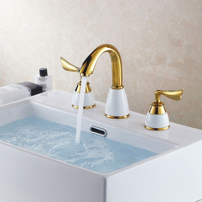 New Design Miniwidespread PCS Water Spray Gold Color Bathroom - Brass colored bathroom faucets