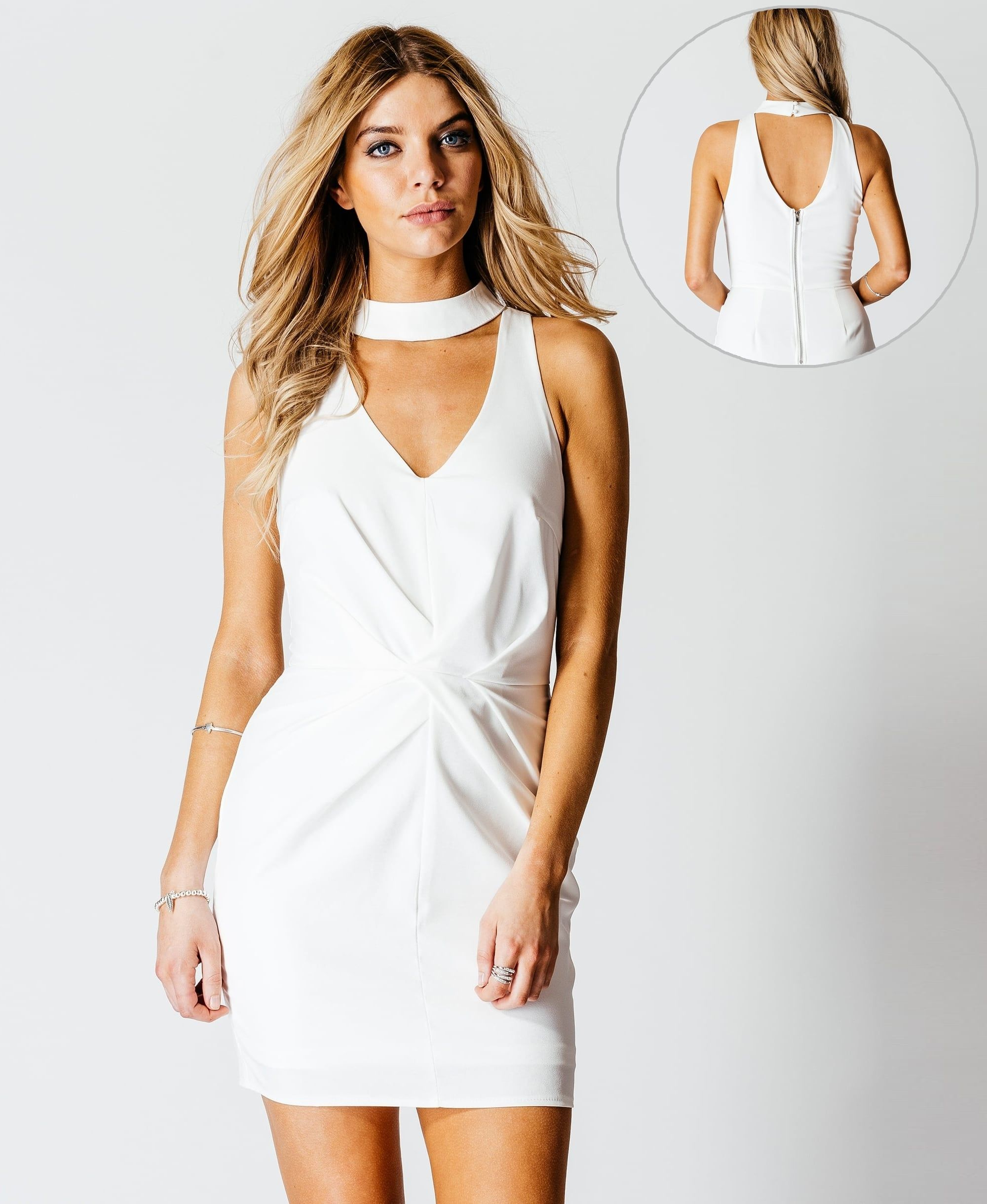 Details about White Choker DRESS Ladies NEW Short mini