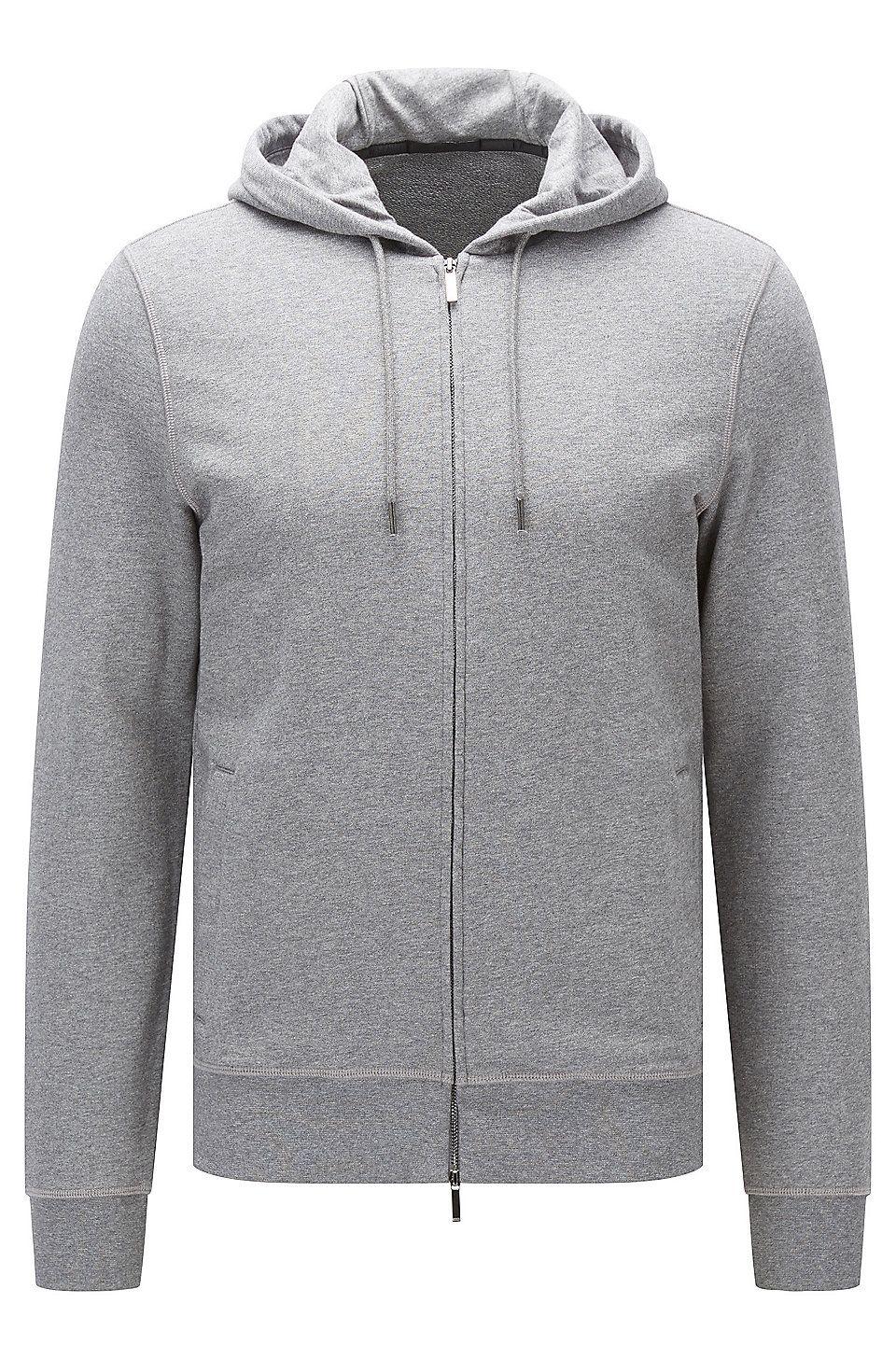 Hugo Boss Slim Fit Zip Through Sweatshirt In Cotton Terry Grey Sweaters And Cardigans From Boss For Men In The Official Hugo Boss Online Store Free Shipping