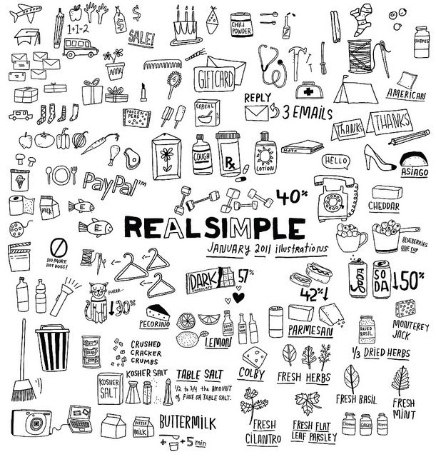 Some Of The Raw Real Simple Illustrations For January 2011 Issue Sketch Book Sketch Notes Simple Illustration