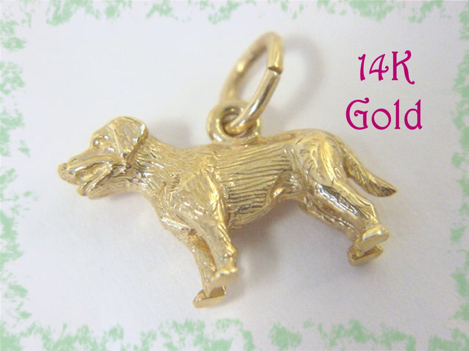 14k Gold Labrador Retriever Dog Charm Pendant Golden Yellow