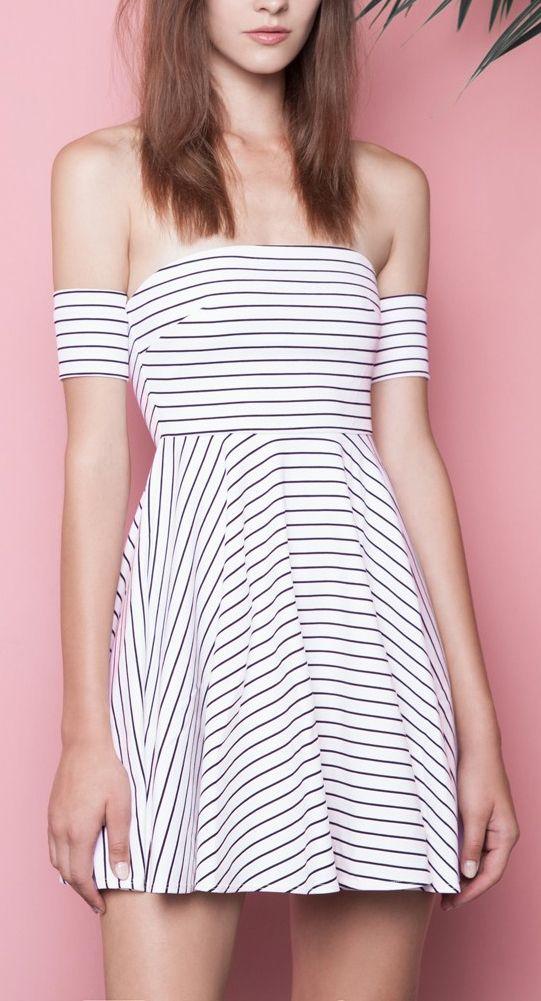 Off Shoulder Stripes Skater Dress