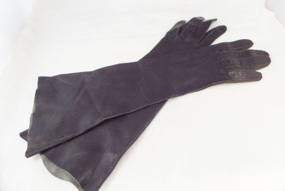 Black Kid Leather Gloves 1950s Handmade in Italy Size 6 Italian Vintage