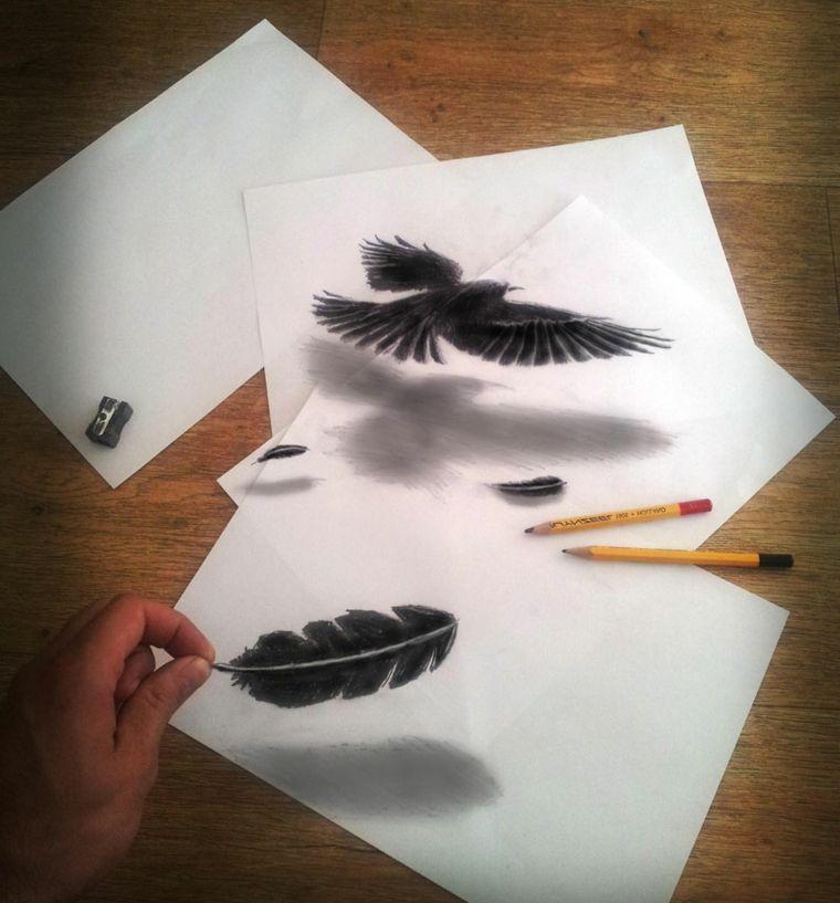 disegni-facili-da-fare-matita-tecnica-3d-piume-aquila-nere