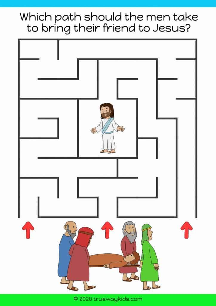 Man lowered through the roof maze game jesus heals