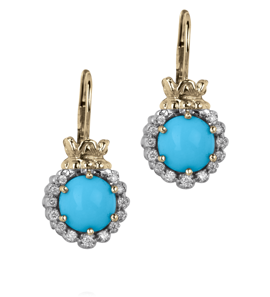 Vahan Sterling Gold And Turquoise Earrings Style