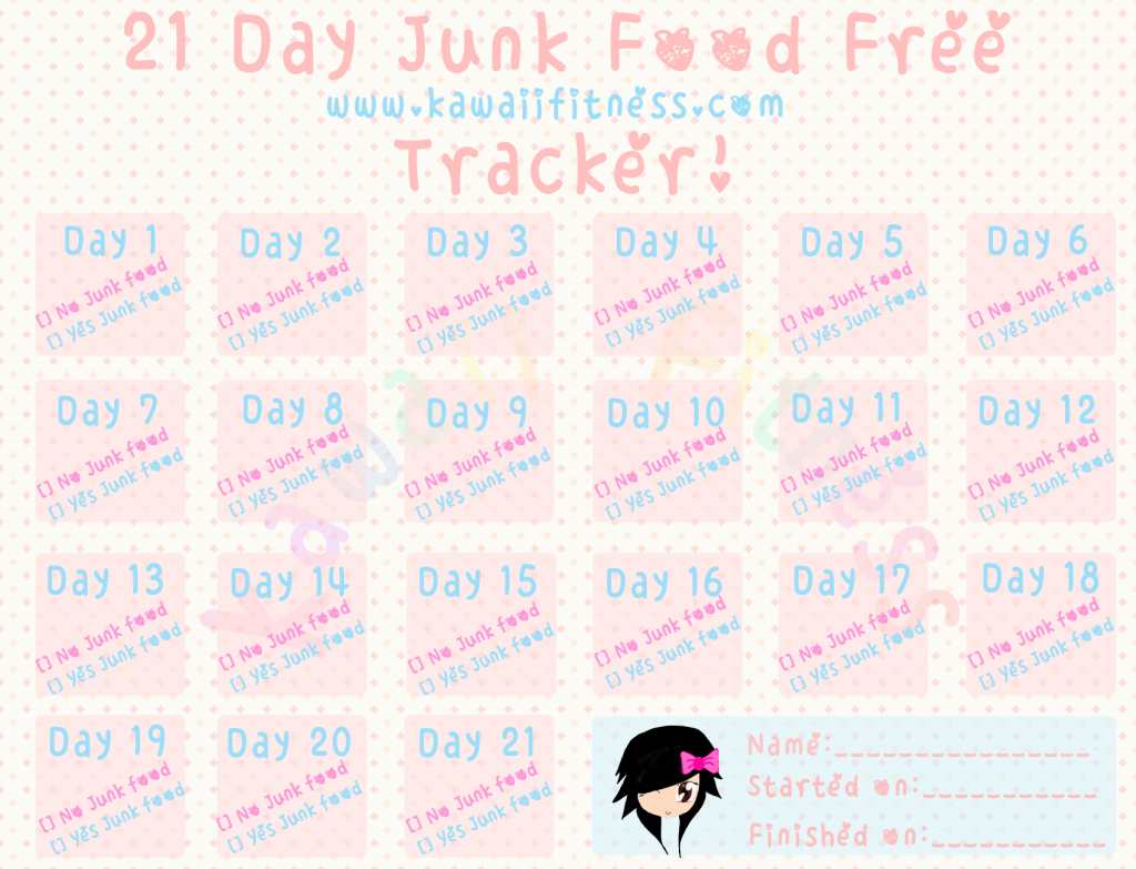 Free Printable 21 Day Junk Food Free Challenge Tracker