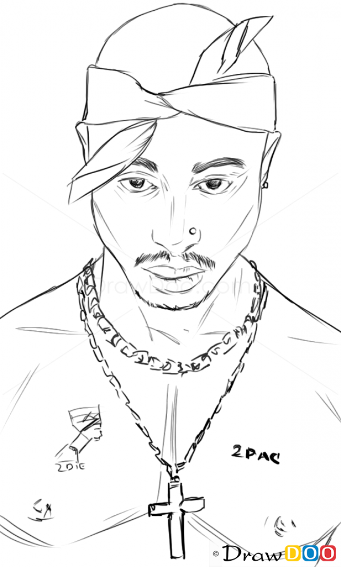 How to Draw Tupac Shakur, Famous Singers | Gangster ...