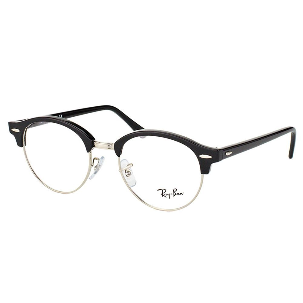 Ray-Ban Clubmaster RX 4246V 2000 Clubround Shiny /Silver 49 ...