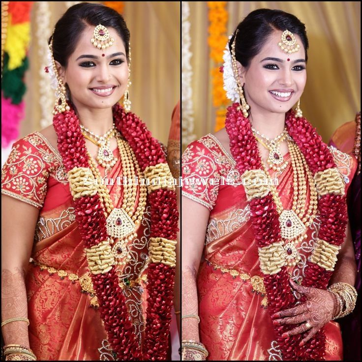 South Indian Bridal Jewellery designs | Gold, Blouse designs and Saree