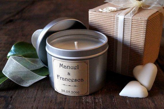 Candela 25 Pezzi Bomboniera Metallo Set Personalizzato Bomboniere Matrimonio Cera Soia Etichetta Personali Candle Containers Natural Candles Tin Candles