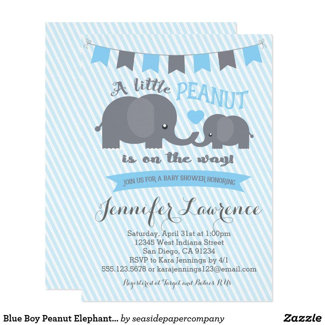 Blue Boy Peanut Elephant Baby Shower invitation | Elephant baby ...
