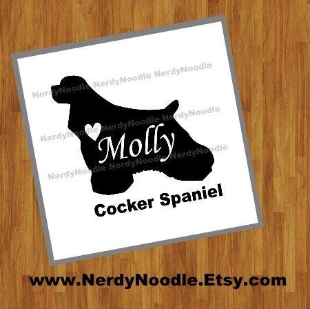 Car Window Vinyl Decal Sticker Cocker Spaniel Love Script Font