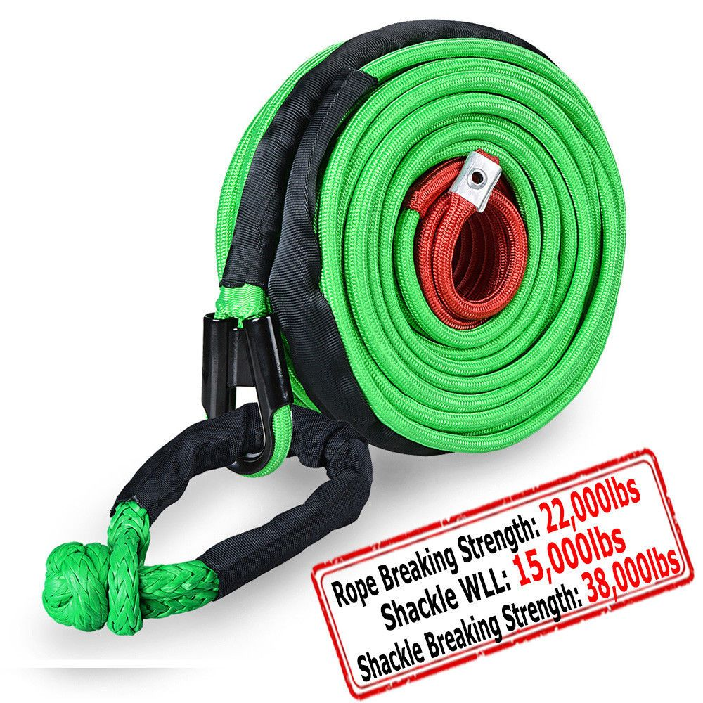 Green 95 X 3 8 Synthetic Winch Rope Recovery Cable 22000lbs 1 2 Soft Shackle Synthetic Winch Rope Winch Rope Parts And Accessories