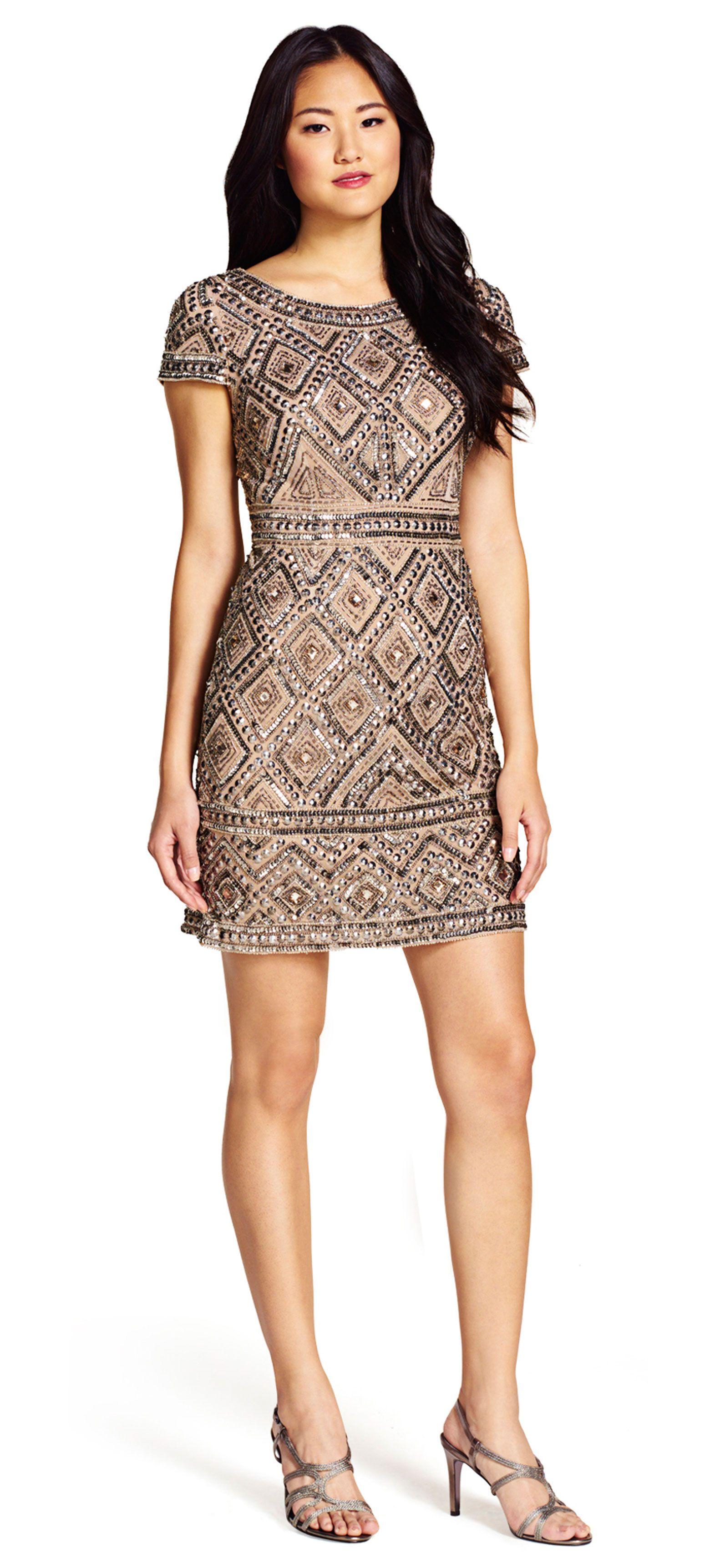 Cap Sleeve Beaded Cocktail Dress | #baziltonwedding2016 | Pinterest ...