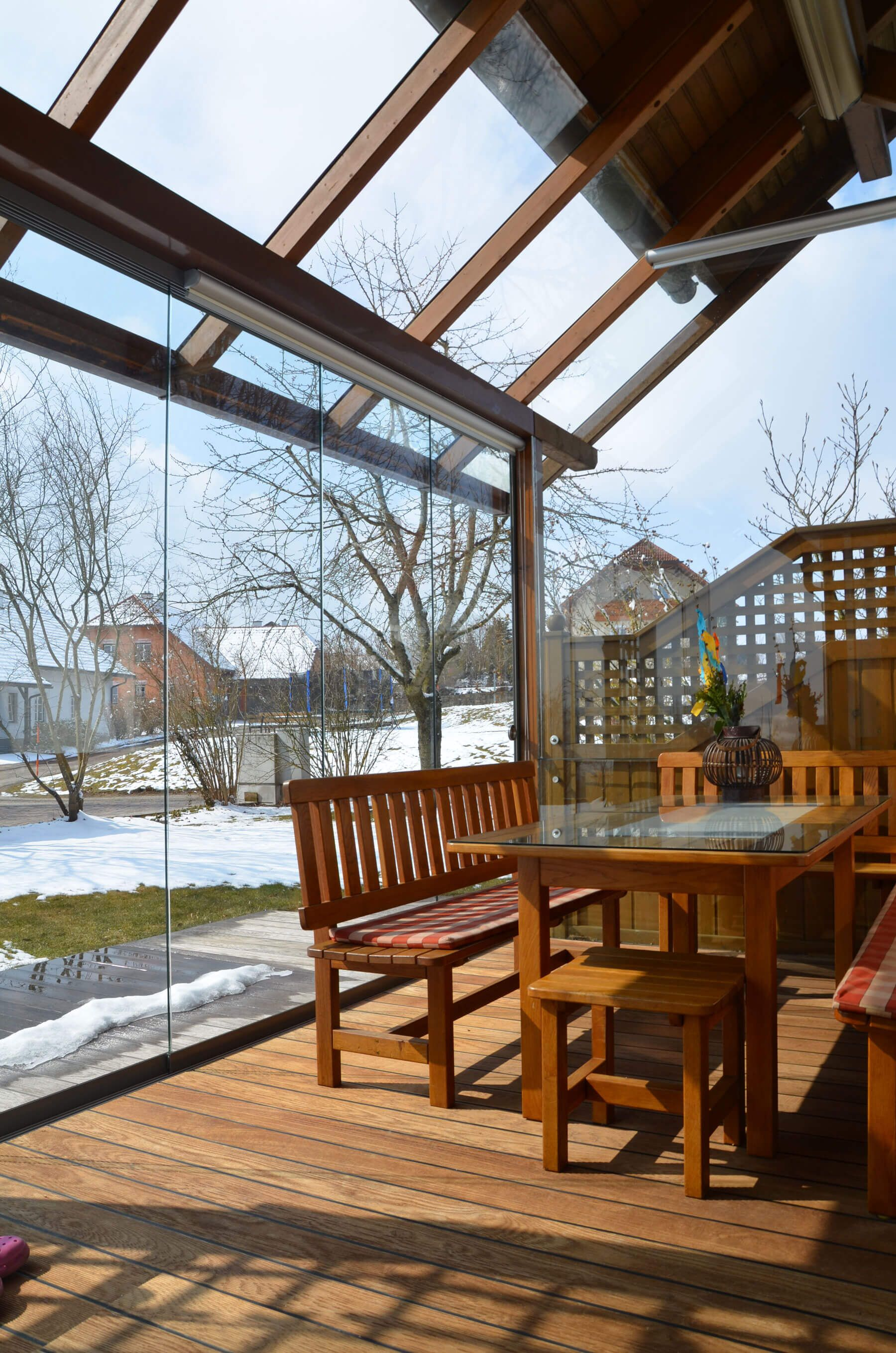 Terrassenverglasung zum schieben sommergarten for Ideen bad fenster