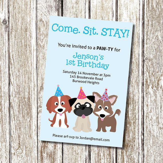 Pin By Erin Hase On Birthday Ideas Dog Birthday Party Invitations Dog Party Invitations Puppy Party Invites