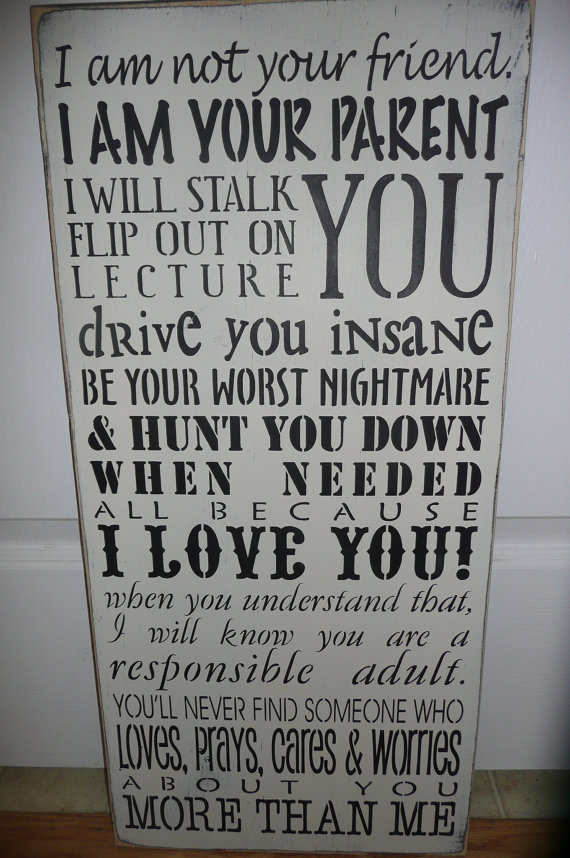 PARENTS PROMISE-I am your Parent/Hand Painted/ Wood Sign/Wall Decor/Family/Love/12