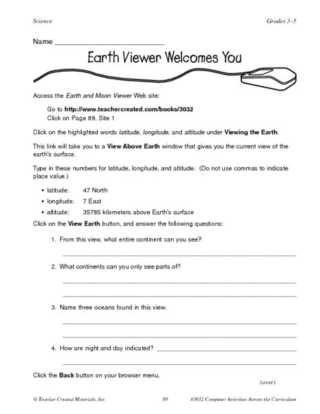 Earth Viewer Welcomes You Web View Of The Earth Worksheet Lesson Planet Lesson Planet Planet Earth 2 Earth Worksheet