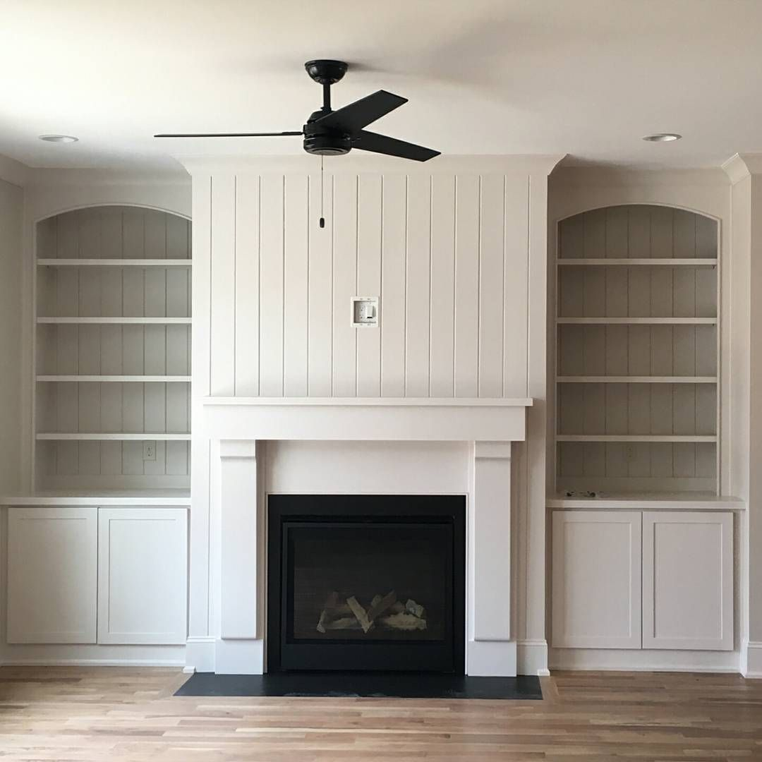 The Fireplace Mantel With Built Ins To Each Side With Vertical Tongue Grove Behind The Shelving And Above The Tongue And Groove Panelling Fireplace Built Ins