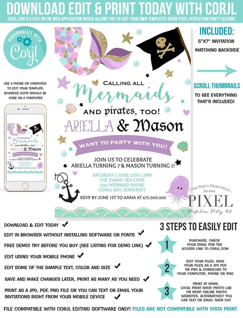Mermaid And Pirate Birthday Invitation Sibling Mermaid