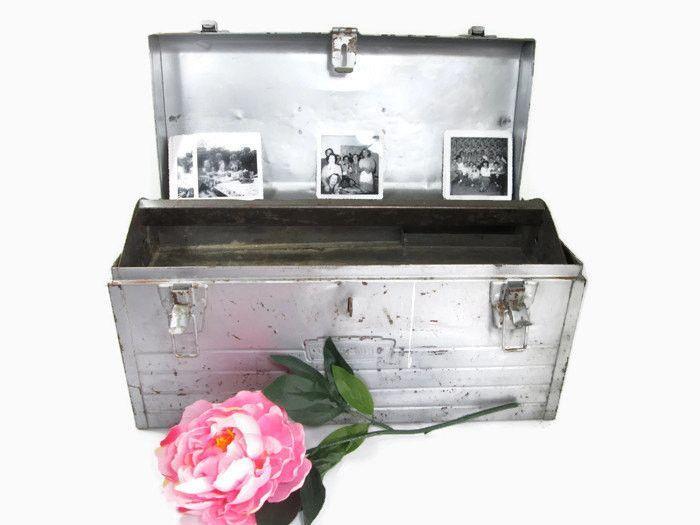 Vintage Metal Tool Box Craftsman Shabby Cottage Wedding Card