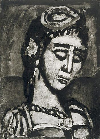 Georges Rouault Head and bust of a woman facing to the right c1929