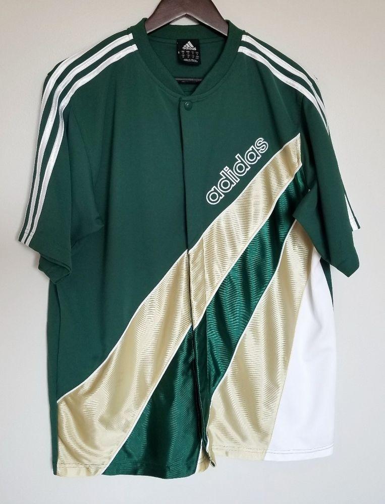 Adidas Men's Jersey T Shirt Medium M Green Gold Stripes Button Up ...