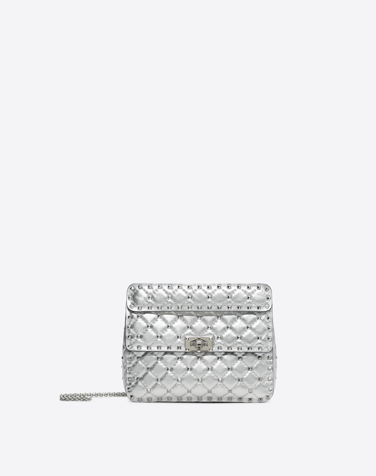 2efe8034acb VALENTINO ROCKSTUD SPIKE MEDIUM CHAIN BAG.  valentino  bags  shoulder bags   hand bags  lining  leather  metallic