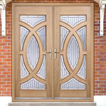 Majestic External Oak Door Pair With Zinc Bevel Clear Tri Glazing