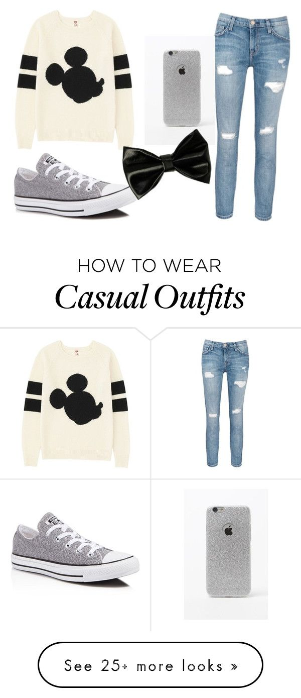 """""""Casual Disney"""" by sydney1818 on Polyvore featuring Uniqlo, Current/Elliott, Converse and LA: Hearts"""