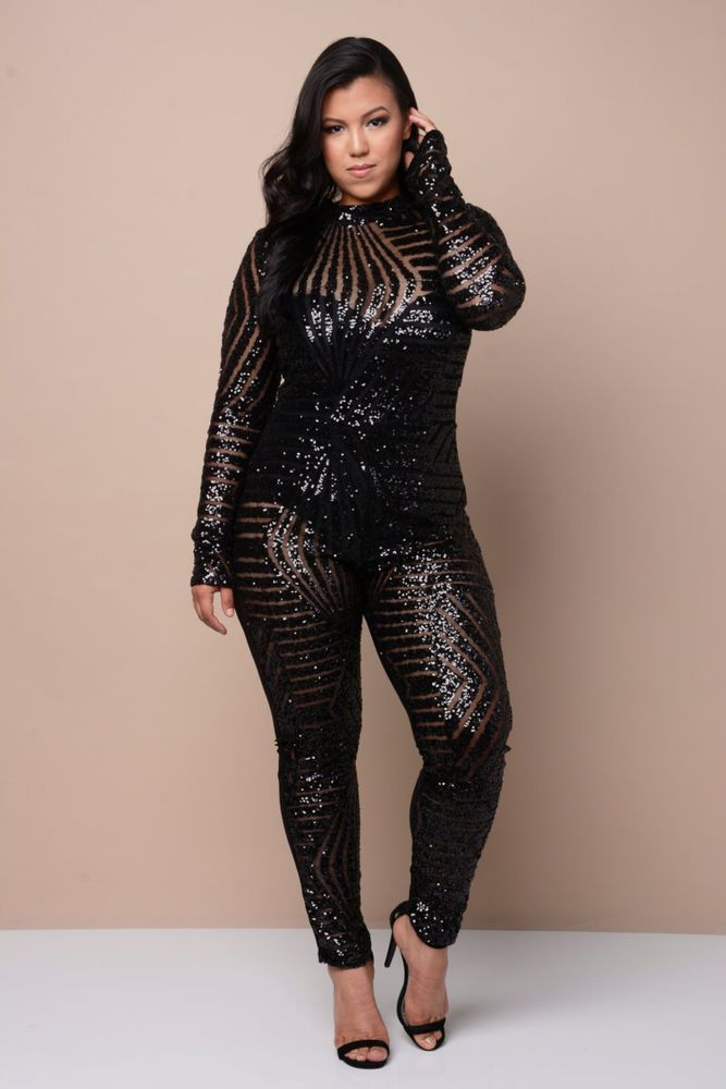 91b3f151d6 SEXY PLUS SIZE OPEN BACK MESH SEQUIN CATSUIT CLUBWEAR PARTY JUMPSUIT ...