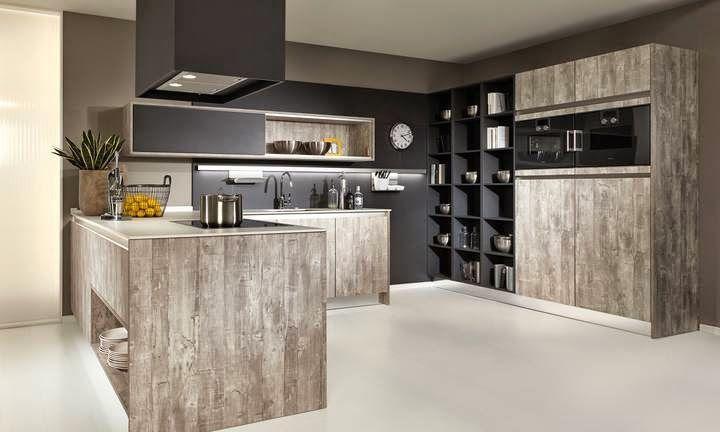 Idée cuisine ouverte sur le salon, murs gris anthracite et meubles