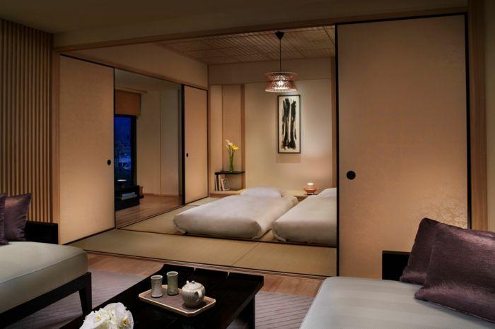 chambre avec tatami et lit futon - Chambre Japonaise Tatami