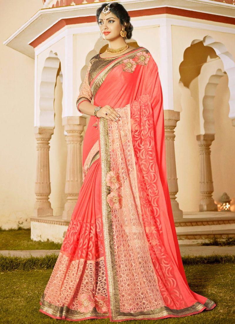 Images of saree patch border faux chiffon classic saree in rose pink  classic
