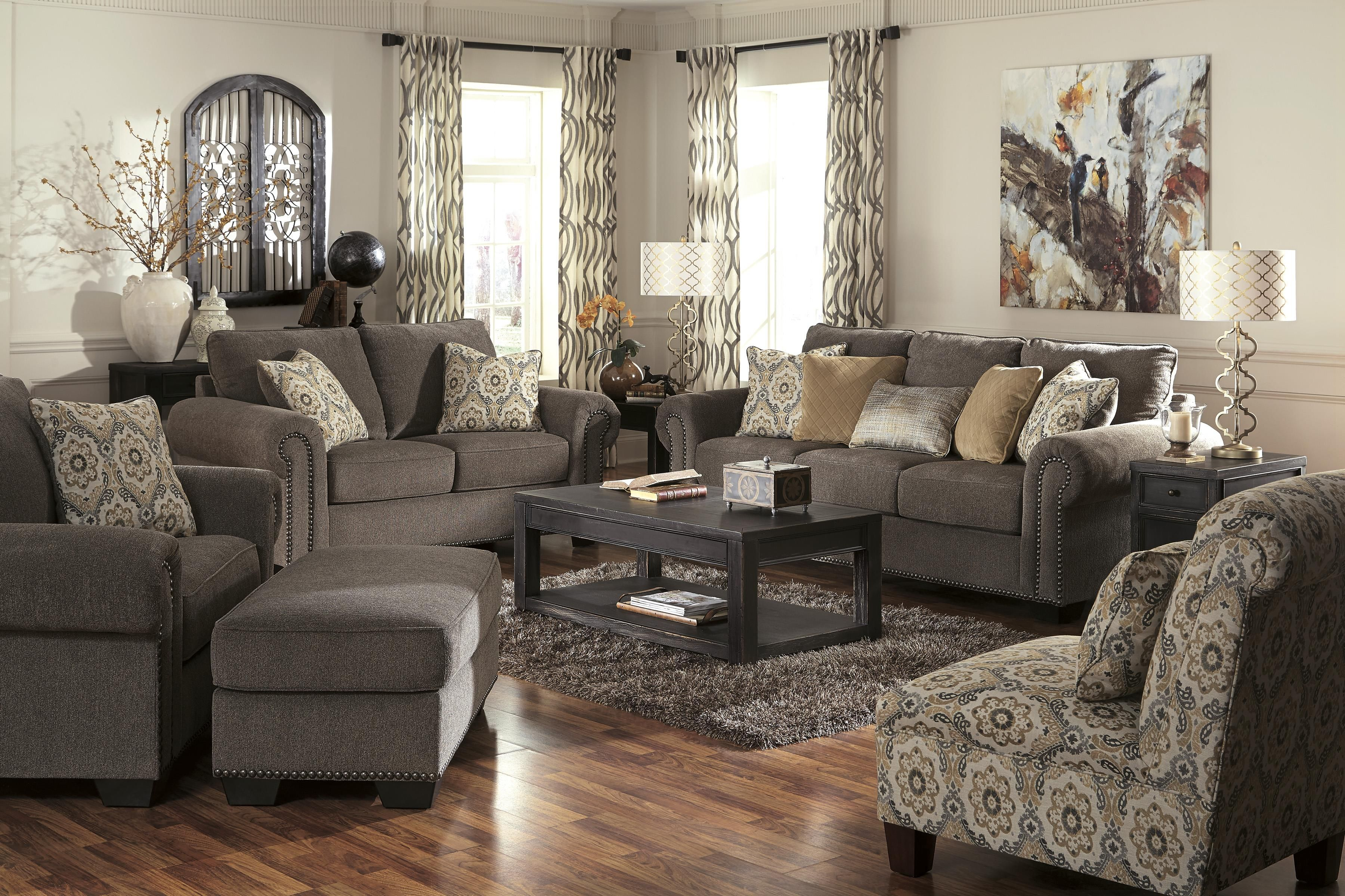 Transitional chair and a half ottoman