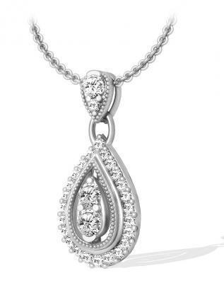 1.00 Karat Art-Deco Diamantanhänger aus 585er Weiß- oder Gelbgold für nur 1799 Euro bei www.diamantring.be