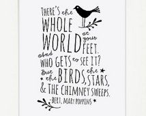 Mary Poppins Whole World At Your Feet Quote / Typographic Print / Inspirational Art Print / Modern Wall Art / Nursery Decor / Dorm Decor