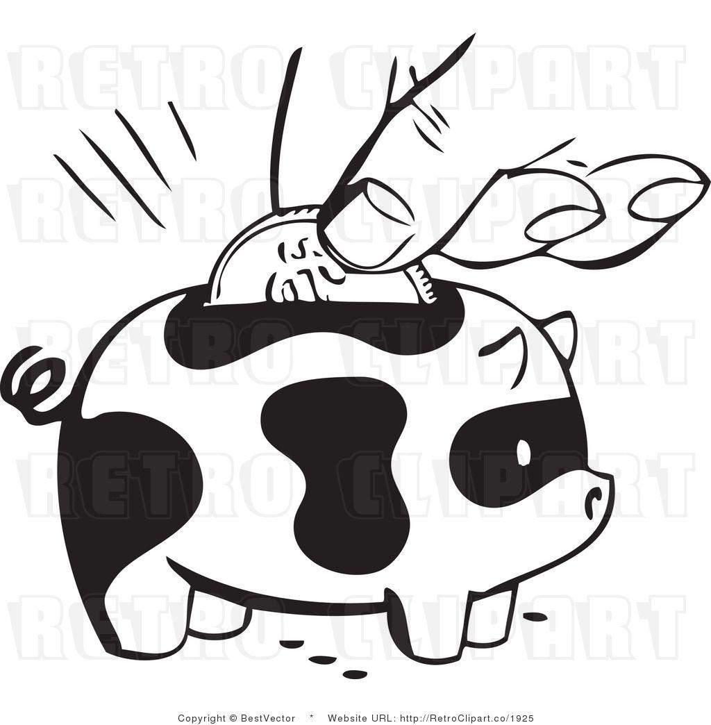Retro Coin Being Added To A Piggy Bank Retro Clip Art Retro Graphics