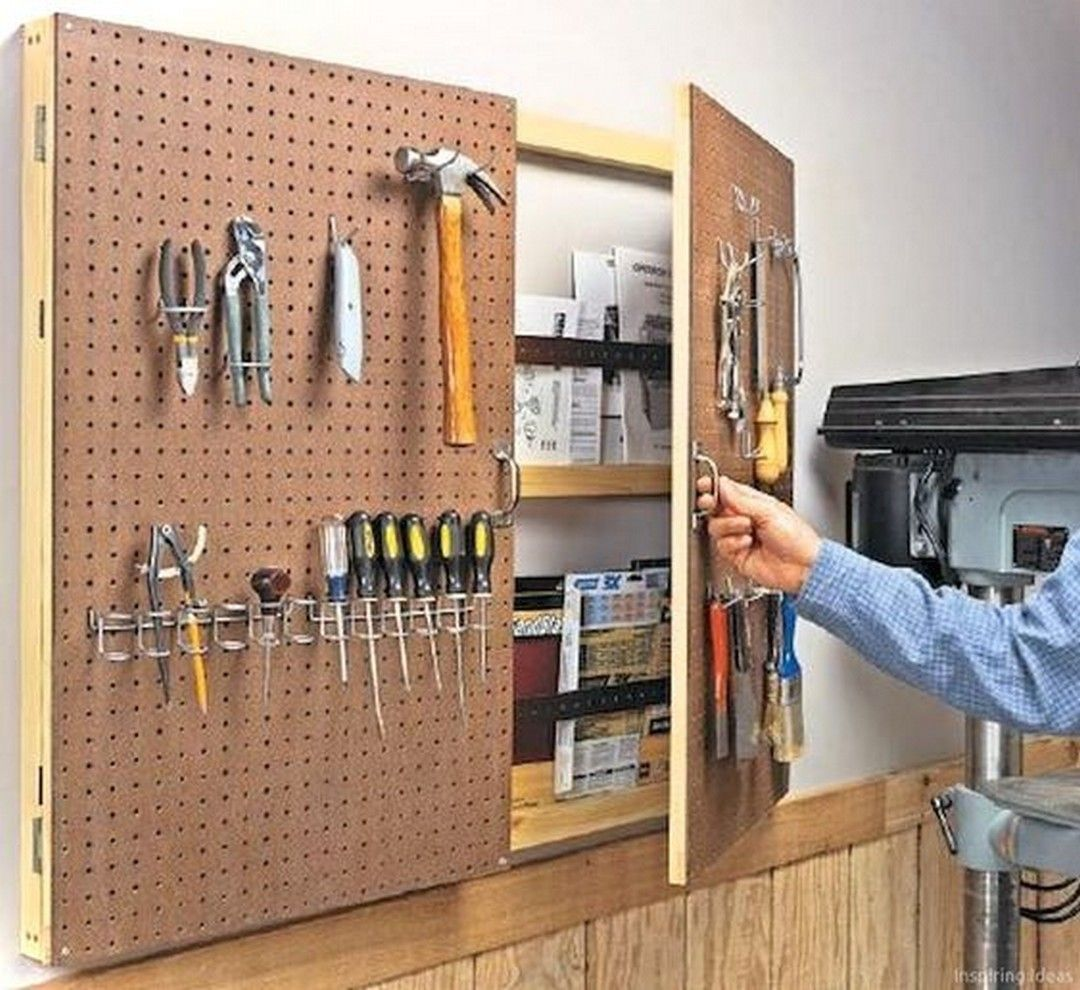 26 Smart Garage Storage Decorating For Your Inspirations Rangement Outils Rangement Mural Cuisine Garage De Bricolage