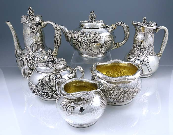 Tiffany hammered and applied Japanese style tea set with chocolate pot