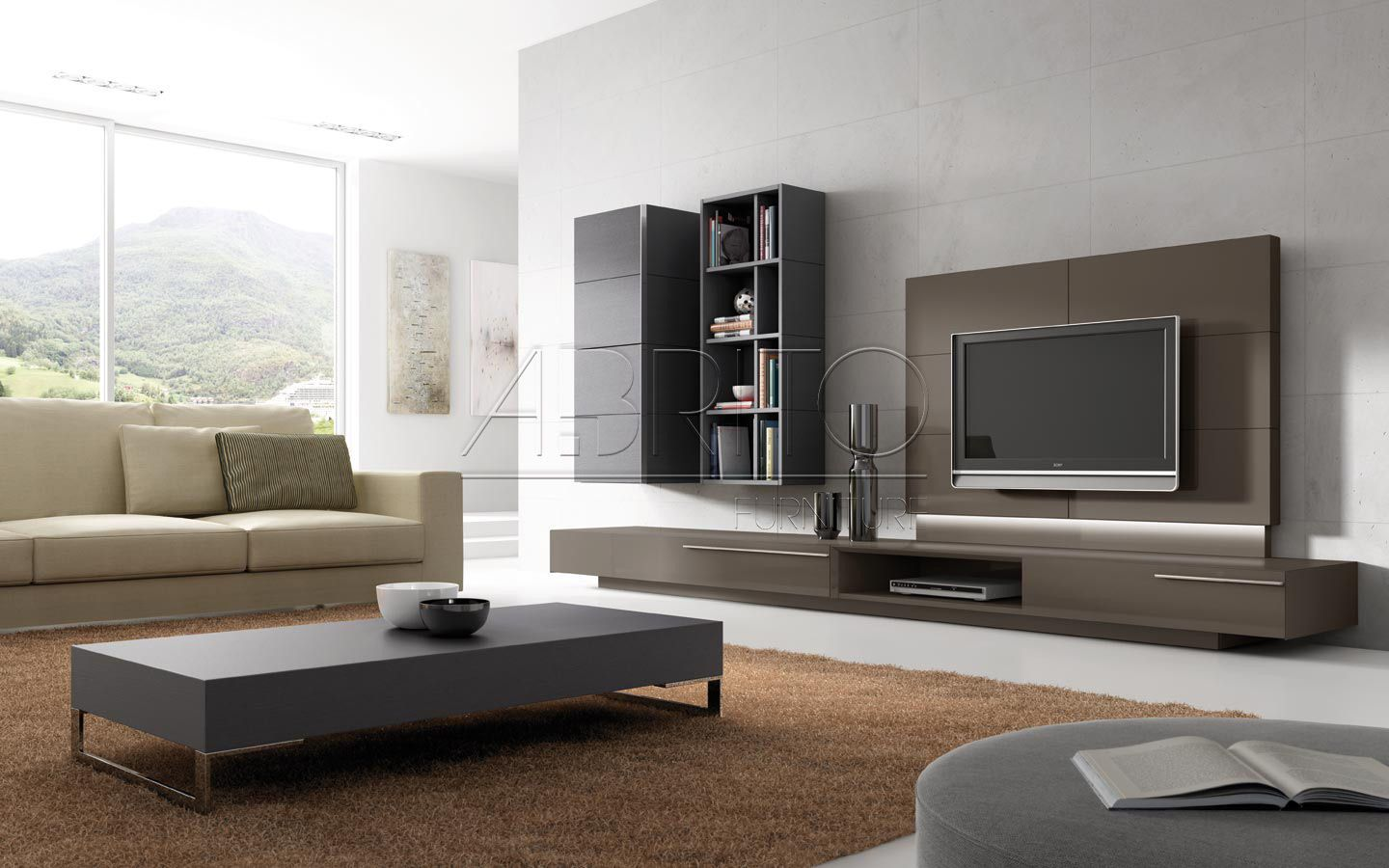 Contemporary tv wall unit for living room with bookcase - Contemporary wall art for living room ...