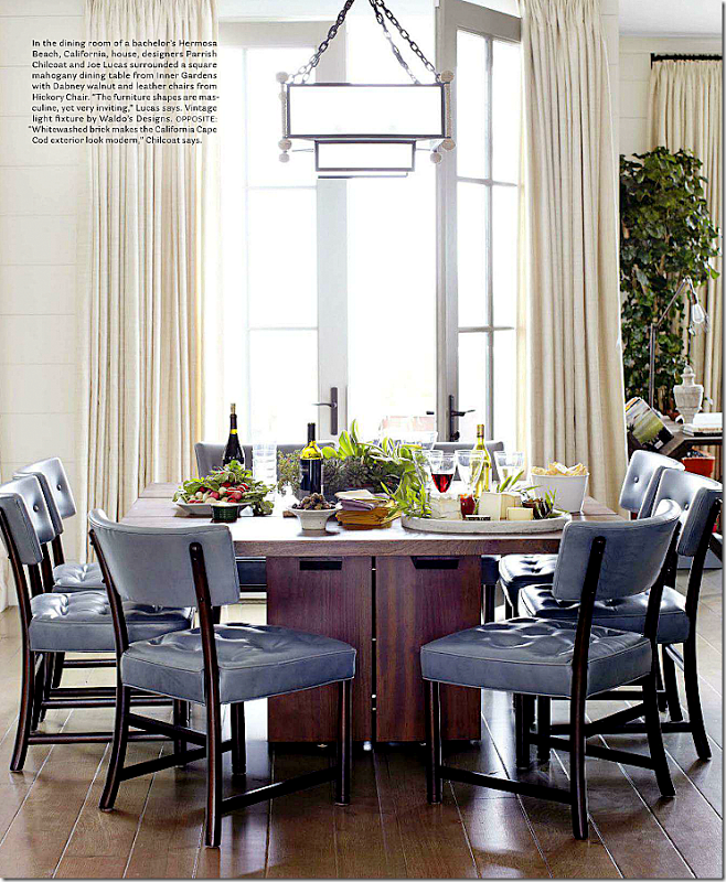 Welcoming White Kitchen Is Illuminated By Regina Andrew: Love The Thick Square Table And The Blue Color Of The Leather