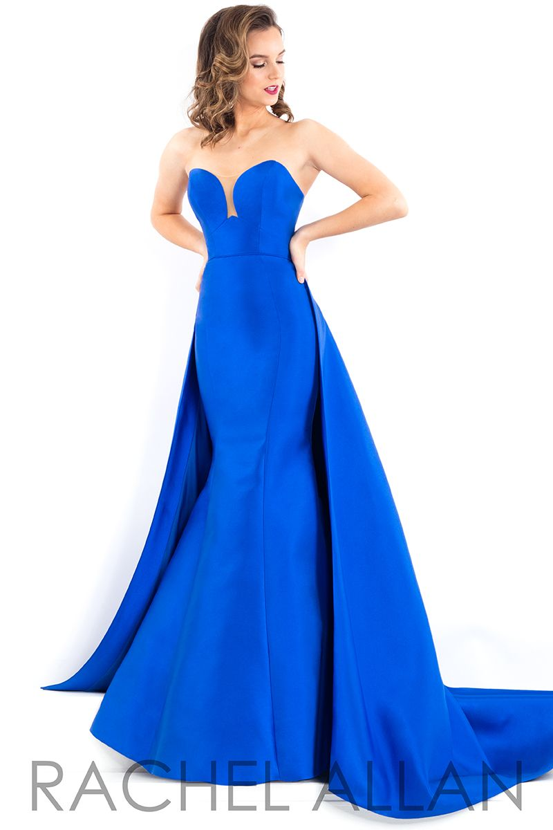 Strapless mikado gown with sweetheart neckline and long train in